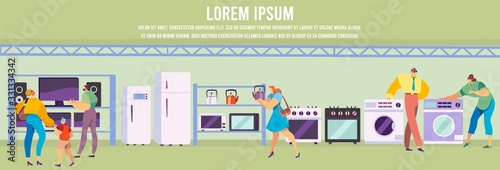 People buying household electronics and kitchen appliances, vector illustration Wallpaper Mural