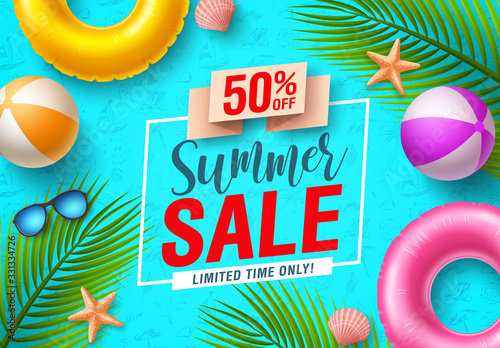 Fototapety, obrazy: Summer sale vector banner design. Summer sale discount text in blue pattern background with beach elements like floater, beach ball, sunglasses and palm leaves for seasonal promotion. Vector