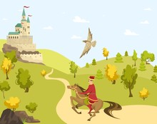 Prince Rider Horse To Castle, ...