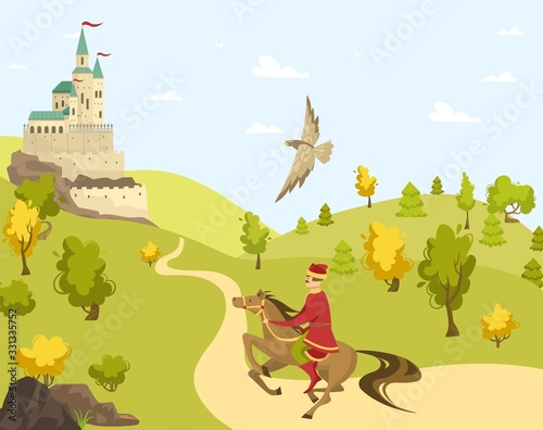 Prince rider horse to castle, eagle fly, palace cartoon vector illustration. Field with green grass, tree, blue sky. Route to fortress. Middle age time, design banner, character male, field, stallion. Wall mural