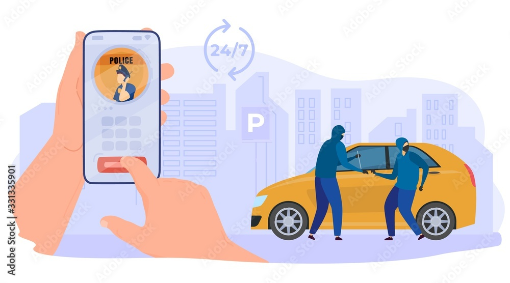 Fototapeta Online call police, criminal character steal car, hand hold mobile phone with application, isolated on white, flat vector illustration. 24 7 call center. Design web banner, poster and postcard.