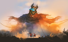 Digital Illustration Painting Design Style 2 Warriors Encounter Demon From Hell, Against Sunset And Ruins.
