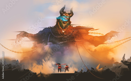 Photo Digital illustration painting design style 2 warriors encounter demon from hell, against sunset and ruins