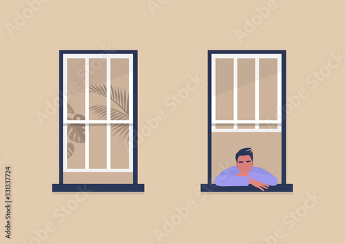 Young male character looking out the window, self-isolation and boredom, quarant Canvas Print