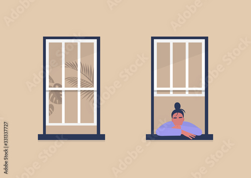 Photo Young female character looking out the window, self-isolation and boredom, quara