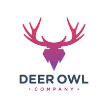 Deer Antlers And Owl Logo