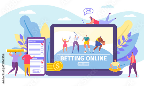 Fotomural Betting online game, bets on sport banner tiny people cartoon vector illustration