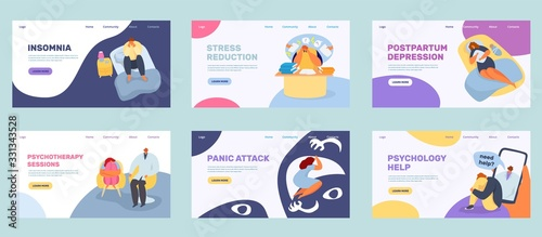 Obraz Lonely stress people vector illustration. Cartoon sad unhappy man woman, depressed tired person upset, feel mental loneliness depression sorrow. Flat loneliest young girl boy sitting alone need help - fototapety do salonu