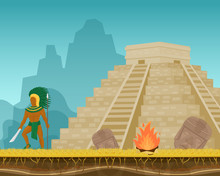Aztec Ancient Warrior With Kni...