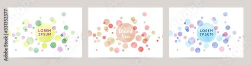 watercolor colorful dot vector background card set Wallpaper Mural