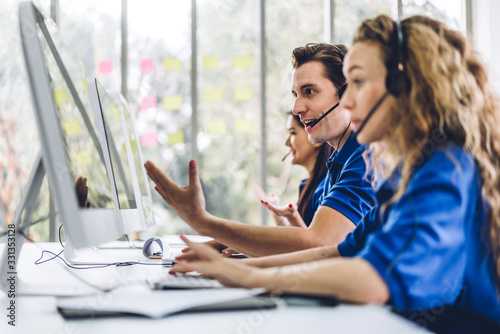 Canvastavla Group of happy call center smiling business operator customer support team phone