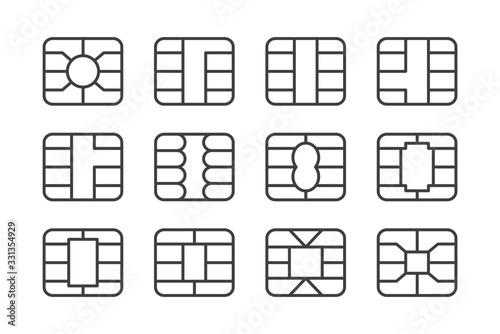 Fotomural Set of EMV chip icon
