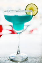 Blue Margarita With Salt Rim A...