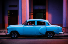 Blue Car In Old Havana In The ...