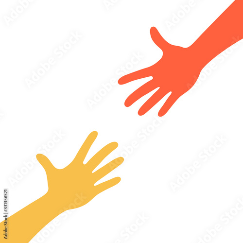Two hands reaching to each other Wallpaper Mural