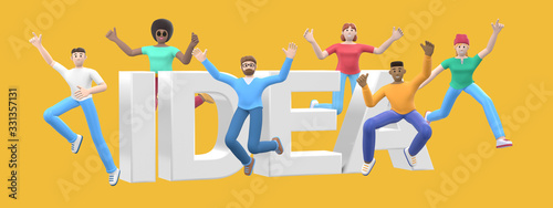 The word idea on a yellow background. Group of young multicultural happy people jump and dance together. Horizontal banner cartoon character and website slogan. 3D rendering.