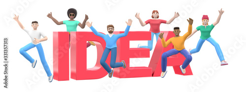 The word idea on a white background. Group of young multicultural happy people jump and dance together. Horizontal banner cartoon character and website slogan. 3D rendering.