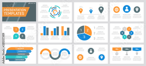 Set of grey, orange, blue and turquoise elements for multipurpose presentation template slides with graphs and charts Slika na platnu