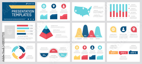 Set of yellow, red, blue and turquoise elements for multipurpose presentation template slides with graphs and charts Tapéta, Fotótapéta
