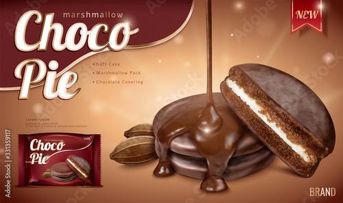 Fototapeta Choco pie ads with dripping syrup obraz