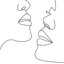 Continuous One Line Drawing. C...