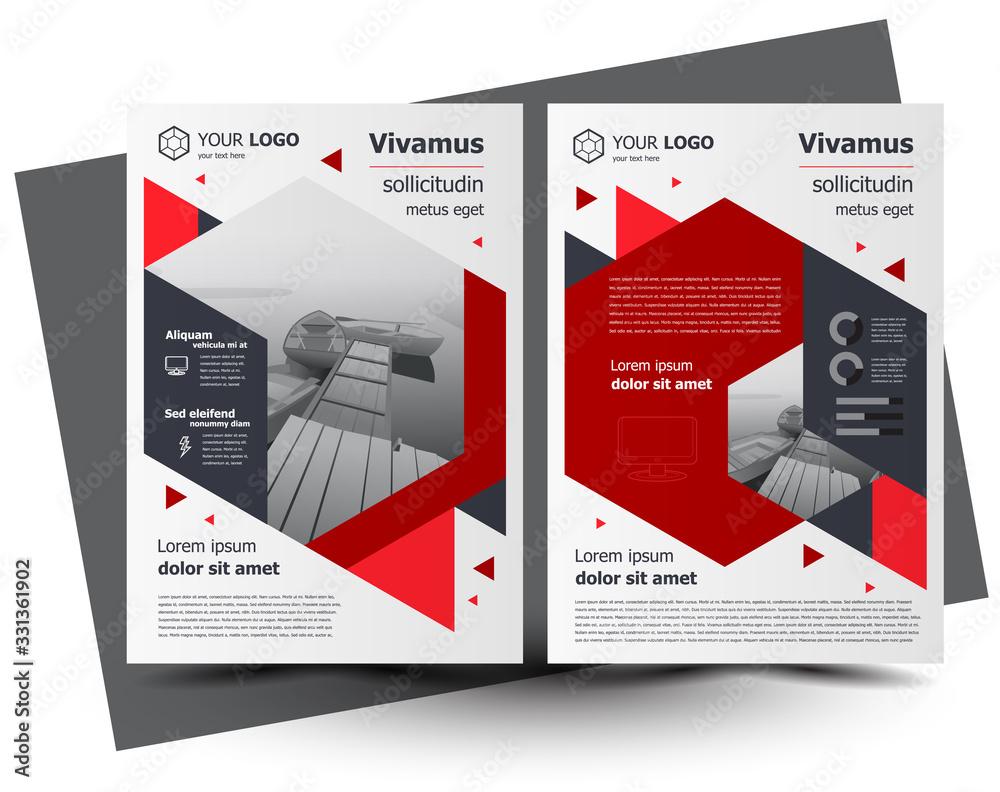 Fototapeta Flyer brochure design, business flyer size A4 template, creative leaflet, trend cover geometric red color