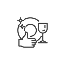 Clean Tableware Line Icon. Lin...