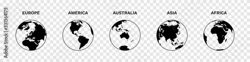 Fotografie, Obraz Set of Globe Illustration Vector of 5 Continents : Europe America Australia Asia Africa