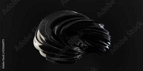 dark futuristic curvy torus object on black background 3D rendering illustration