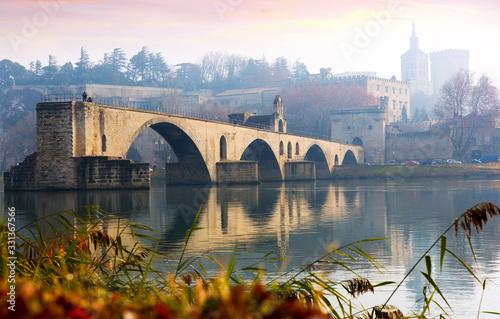 Fototapeta The Pont St-Benezet, Palais des Papes and Rhone River