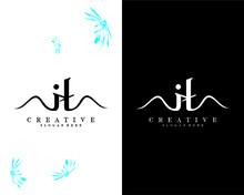 Letter It, Ti Creative Handwriting Logo Design Vector