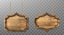 Wooden Boards Hang On Ropes Vector Set. Realistic Signboards With Wood Texture, Banners Or Labels For Bar Or Saloon In Rustic Style. Blank Vintage Plank Panels For Menu Or Pub Entrance 3d Illustration