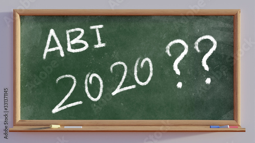 3D render of a blackboard with text Abi 2020 Wallpaper Mural
