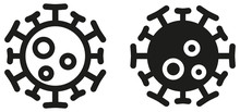 Simple Round Virus Icon, Can Be Used As Illustration For Ncov Coronavirus / Covid 19