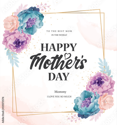Foto Mother's day greeting card with beautiful blossom flowers background