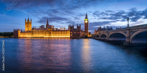 Fototapeta Palace of Westminster and Big Ben at night, London, Great Britain obraz