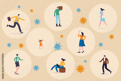 Obraz Social distancing concept, people keep distance in public society to protect from COVID-19 coronavirus outbreak spreading concept, people keep distance away in circle with virus pathogens - fototapety do salonu