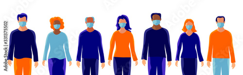 Fotografering Group of people wearing protection medical face mask to protect and prevent virus, disease, flu, air pollution, contamination, corona
