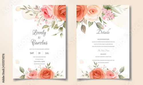Wedding invitation card set template with beautiful floral frame Fototapeta