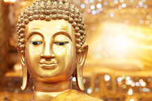 Golden Buddha Face On Golden B...