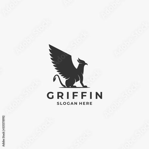 Fotografija Vector Logo Illustration Griffin Silhouette Style.