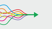 Vector Illustration. Colorful Lines Intertwined In Arrow. Dimensions 16:9.