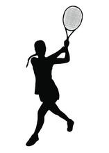 Girl Tennis Table, Racket Sword Strike, Sports, Vector Illustration Silhouette Black On White Background