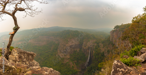 Fototapeta The Famous Waterfall in Orissa , Joranda waterfall from a height of 181 mtrs touches the ground on the gorge perpendicularly