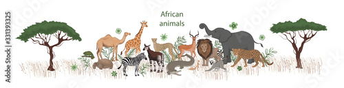Fotografering Vector banner, cartoon cute African animals with plants