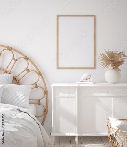 Mockup frame in Coastal boho style bedroom interior, 3d render Fototapet