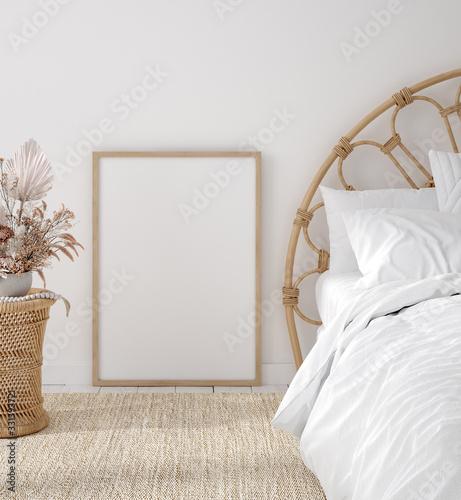 Fototapeta Mockup frame in Coastal boho style bedroom interior, 3d render obraz
