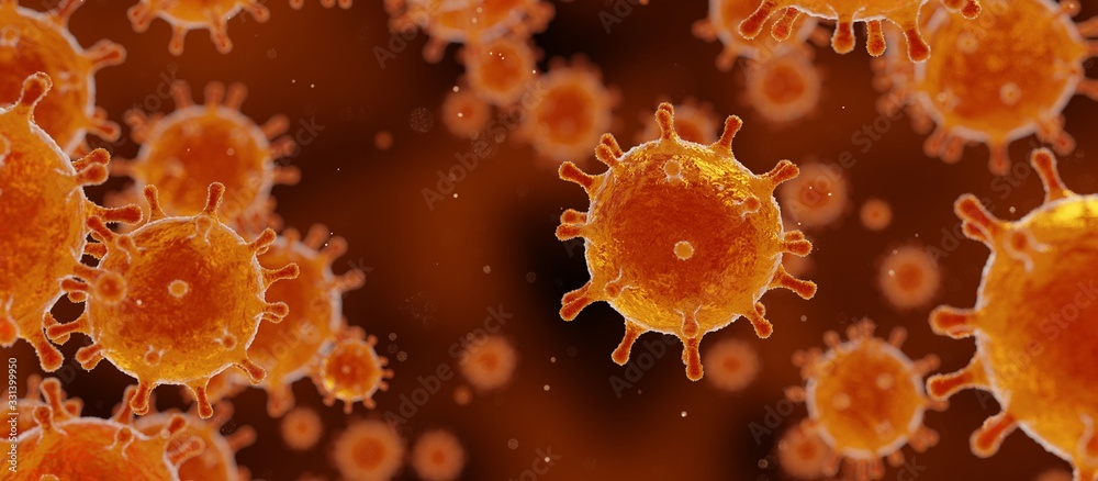 Fototapeta corona virus 2019-ncov banner illustration, SARS pandemic risk concept, microscopic view of floating influenza virus cells, 3D rendering