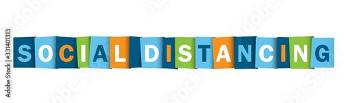 Fototapeta SOCIAL DISTANCING colorful vector typography banner obraz