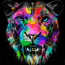 Tiger Head With Creative Abstr...